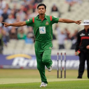 Bangladesh's Mashrafe Mortaza celebrates after dismissing England's Kieswetter for 0 in the third one-day international match at Edgbaston cricket ground in Birmingham